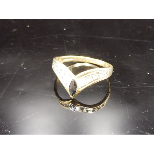 512 - Hallmarked Birmingham 375 Gold Black and Clear Stoned Ring (Size O) Complete with Presentation Box...