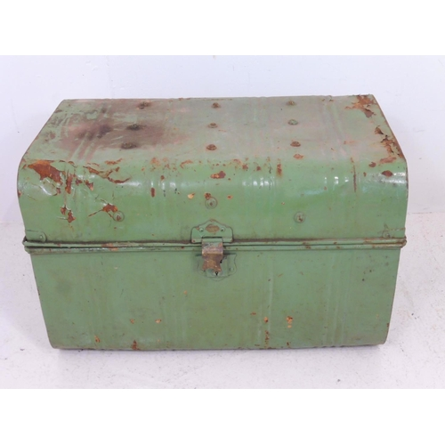 615 - Vintage Green Metal Trunk Approx. 75cm x 46cm x 48cm...