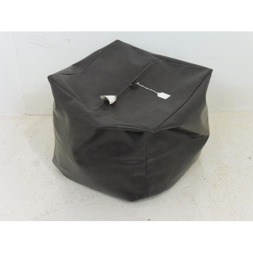677 - Brown Leather Pouffe Stool with Built in Zip Opening 16
