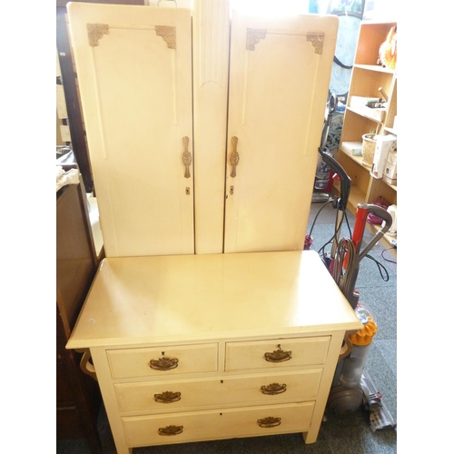 688 - Deco Style Painted Wardrobe and Chest of Drawers...