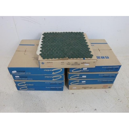 734 - Nine Boxes Containing 10 Sheets of Victorian Style Penny Round Tiles in Dark Green (Total of 90 Shee...
