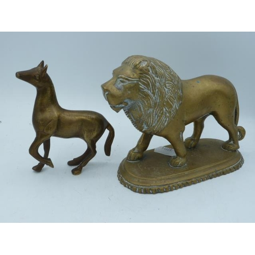 3 - Heavy Vintage Brass Lion and Horse...
