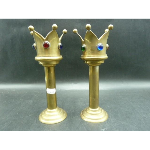 15 - Pair of Brass Crown Tealight/Candle Holders...