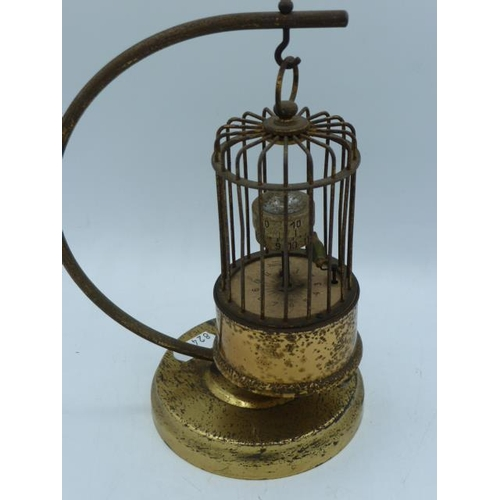20 - Vintage Brass Kaiser Bird Cage Automaton Clock on Hanging Brass Stand (Working When Tested)...