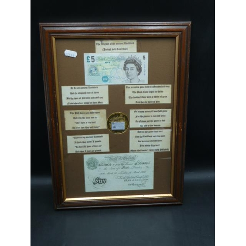 22 - A Framed £5 Note & White fiver Replica with The Rhyme of the Ancient Landlord...
