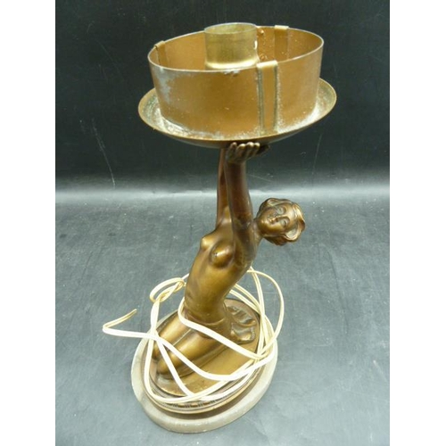 41 - A Bronze Art  Classical Nude Lady Lamp Base...