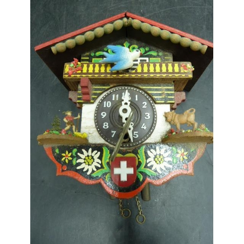 42 - Miniature Wall Hanging Vintage Swiss Cuckoo Clock with Key (Working When Tested)...