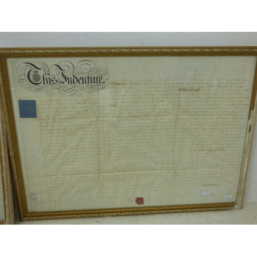 96 - Two Framed Indentures approx. 26