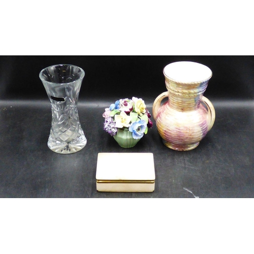 235 - Thomas Webb Crystal Vase, Old Court Lustre Ware Vase, Marble Trinket Dish and More...