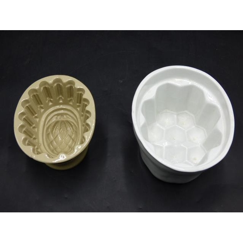 254 - Two Vintage Stoneware Jelly Mould's...