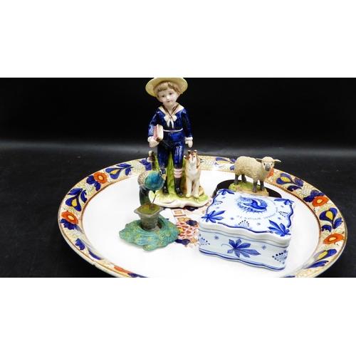 312 - Edwardian Serving Platter with Delph Ware Trinket Box, Regency Fine Arts Lamb, Victorian Style Figur...