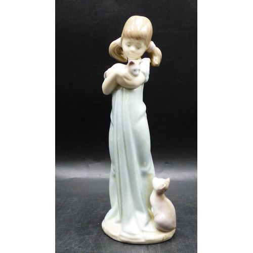 345 - Lladro Dont Forget me Figure of Girl with Two Cats...