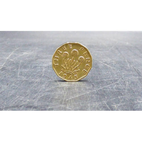 373 - Gold Plated 1943 Three Penny Coin...