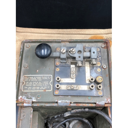 17 - WWII British Army cased Signalling Lamp and Morse Tapper...
