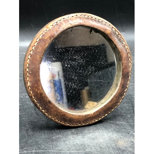 18 - WWI British soldiers Trench Shaving Mirror with Brown Stitched Leather, Metal Stand and Two Metal Pl...
