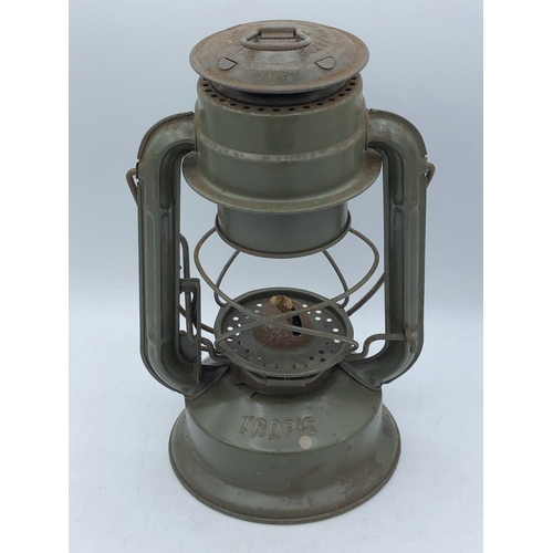 26 - RAF Green Metal Hurricane Storm Lamp Marked Am 21c/2778 to the top and Has No Glass...