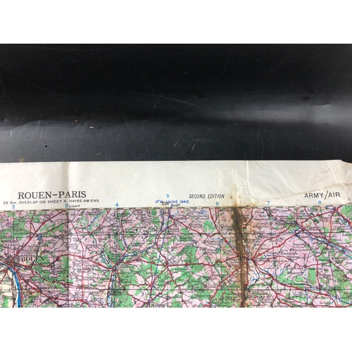 29 - WWII British Military Army / Air Map Rouen to Paris France dating 1943...