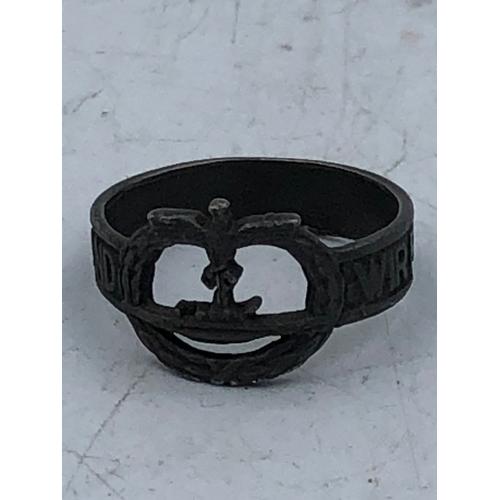 33 - German Silver U Boat Finger Ring Marked