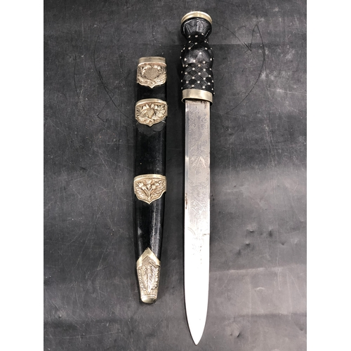40 - Scottish Military Pipers Dirk with Thistle etched Blade and Scabbard with Metal Mounts (43cm Long)...