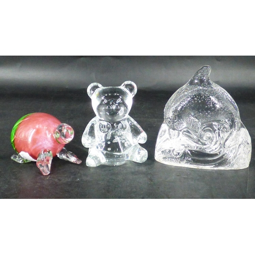 14 - Three Pieces of Glass to include Teddy Bear, Dolphin and Tortoise...