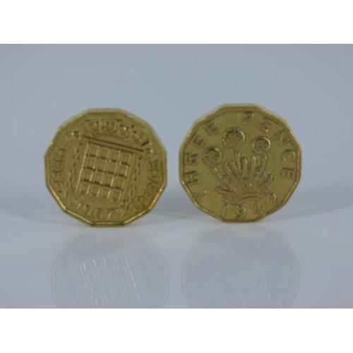 38 - Two Gold Plated Three Penny Coins dated 1942 and 1967...