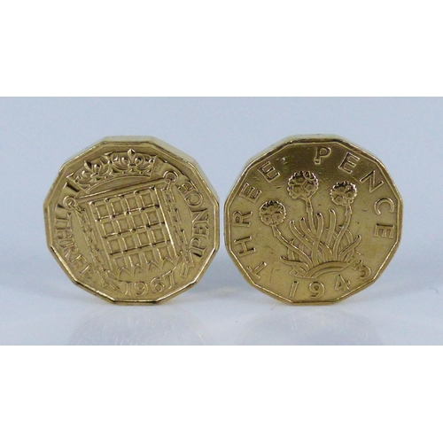 44 - Two Gold Plated Three Penny Coins dated 1943 and 1967...