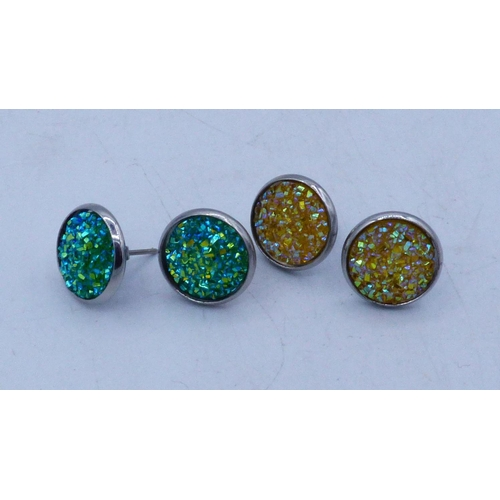 55 - Two Pairs of Drusy Earrings...