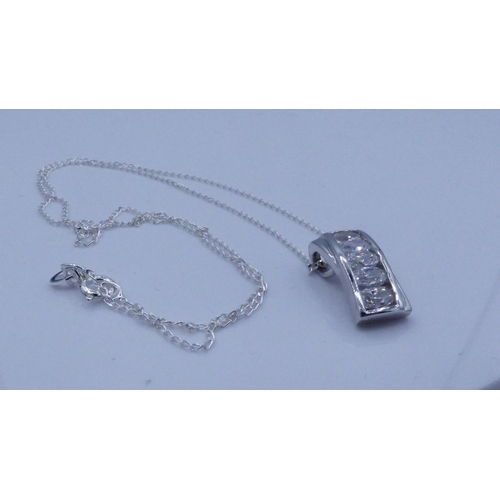 57 - Silver 925 Five Stoned Pendant on Chain Complete with Presentation box...