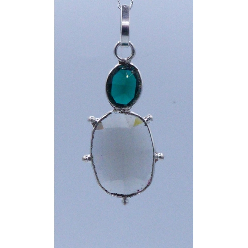 59 - Silver 925 Twin Stoned Pendant with Chain and Presentation Box...
