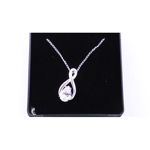 65 - Silver 925 Large Stoned Pendant with Chain and Presentation Box...
