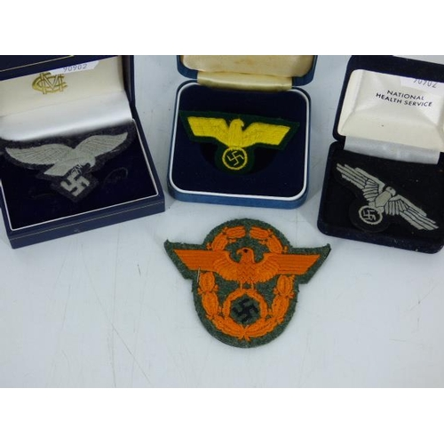 71 - Selection of 4 German Nazi WWII Type Patch Badges including Luftwaffe and More...