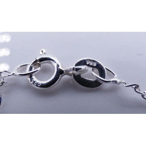 73 - Silver 925 twin Tear Drop Stoned Pendant with Chain and Presentation Box...