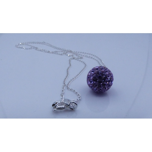 87 - Silver 925 Glitter Ball Themed Pendant on Chain complete with presentation box...