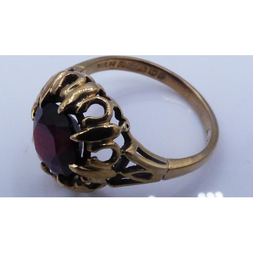 202 - Hallmarked Birmingham 375 Gold Ruby Stoned Ring (Size N) with Presentation Box...
