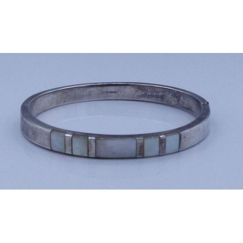 214 - Silver 925 Bangle with Mother of Pearl Decoration...