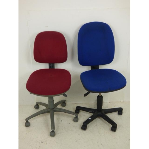 664 - Two office Chairs (Red & Blue)...