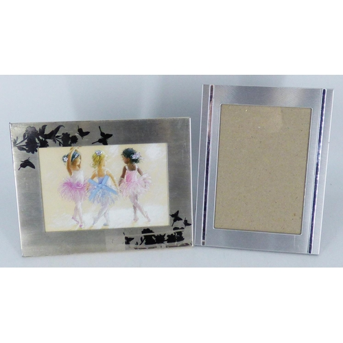 675 - Two Metal Picture Frames one with picture of children ballet dancing both approx 9