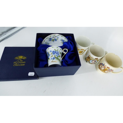 684 - Three Commemorative Cups A/F with Boxed Mother cup and saucer...