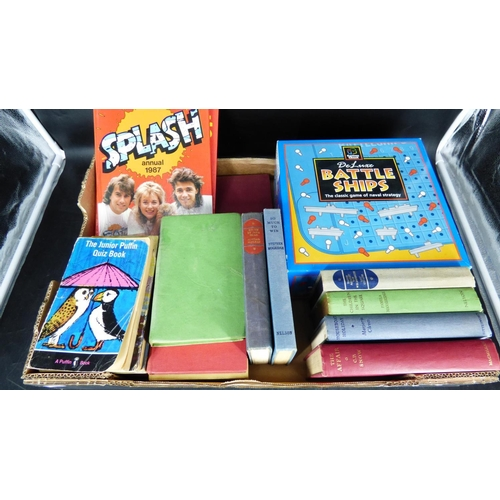718 - Mixed Lot Including Battle Ships Game, Annuals, Vintage Books and More...