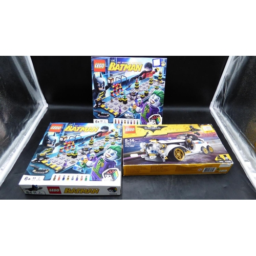 26 - Three Boxed Lego Batman Kits (prebuilt unchecked) to include the Penguin Arctic Roller...