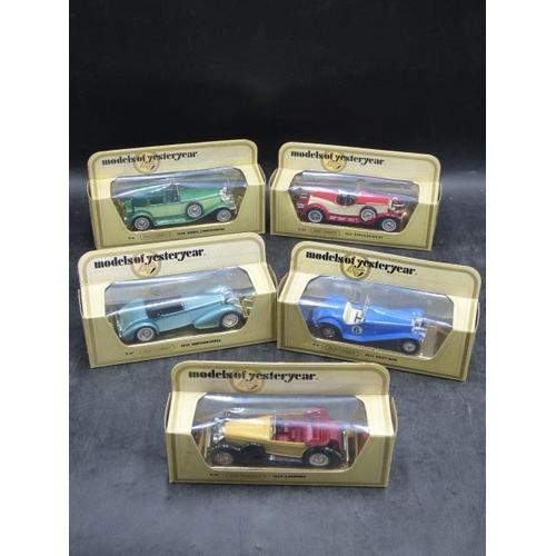 34 - Five Matchbox Die-Cast Models in Display Cases including Riley, Lagonda, Stutz, Hispano, and Duesenb...