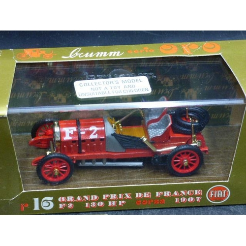 52 - Three Brumm Die-Cast Models in Display Cases including Coppa Florio, Auto Union and Grand Prix De Fr...