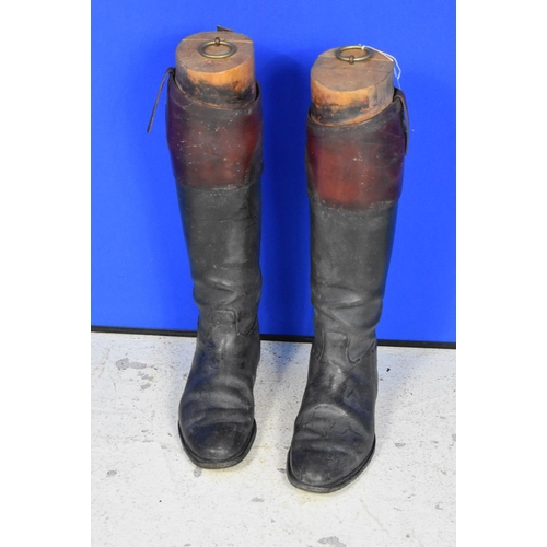 20 - Vintage Gents Leather Black Hunting Boots with Brown Leather Tops, Complete with Wooden Trees. Boots...