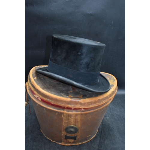 31 - Vintage gents Top Hat made by G A Dunn London. Complete with leather top Hat Case...