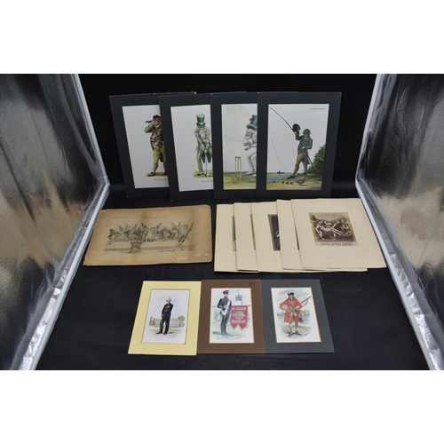 46 - Selection of Vintage Pictures including Military, Classical Portraits, and Norman Orr Fishing and Go...