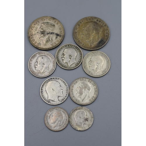 3 - Selection of 9 British Silver Coins (Edward VII to George VI)...
