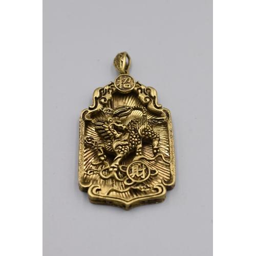 4 - Chinese Bronze / Brass Dragon Pendant...