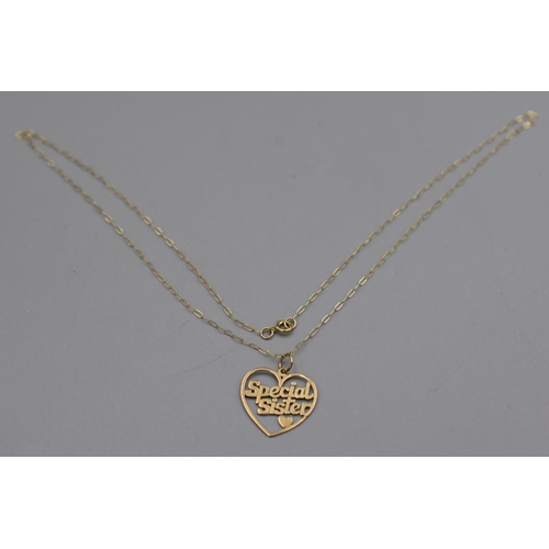 8 - Gold 375 Special Sister Pendant Necklace Complete with Presentation Box...