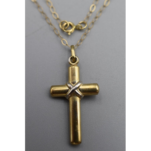 9 - Gold 375 Cross Pendant Complete with Presentation Box...