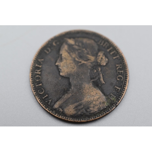 13 - Victoria 1860 Young Head Beaded Border Penny...